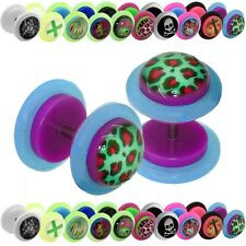 Pendientes Tunnel Falso Plug Fakeplugs 8 10mm Acrilico Flor Leopardo Piercing