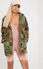 Prettylittlething Womens Ladies Priya Khaki Camo Hooded Parka Jacket Coat