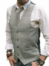 """MENS GREY GRAY and YELLOW CHECK WAISTCOAT SLIM FIT VEST - 34"""" 36"""" 38"""" 40"""""""