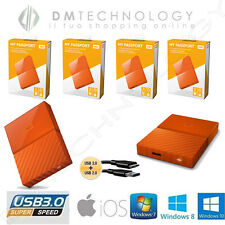 HARD DISK ESTERNO 2,5 WESTERN DIGITAL MY PASSPORT 1TB-2TB-3TB-4TB USB 3.0 ORANGE