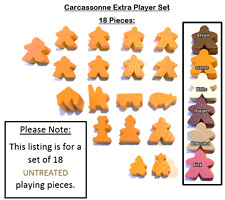 Carcassonne Extra Player 18 Meeples : UNTREATED WOOD abbot mayor robber builder
