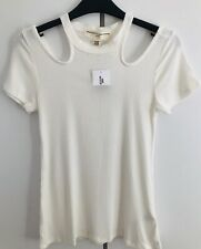 Urban Outfitters Project Social T Ribbed Ivory Cut-out Top BNWT UK S 6 8 RRP £26