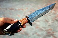 STAG/OLIVE WOOD HANDLE, DAMASCUS HUNTING BOWIE KNIFE.