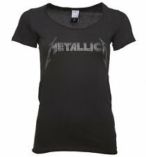Official Women's Charcoal Metallica Silver Diamante T-Shirt from Amplified