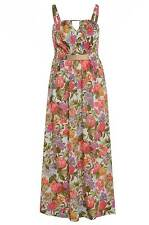 Womens Plus Size Multi Floral Print Maxi Dress Gold Belt and Pleating Detail