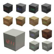 Cube LED digital Alarm Clock Square Wooden charging Clock Thermometer Temp Date