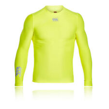 Canterbury Thermoreg Hommes Jaune Top Manche Longue Col Rond Rugby Baselayer