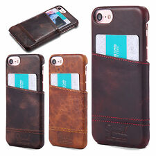 For Apple iPhone 7 7 Plus Luxury Slim Genuine Retro Leather Card Back Case