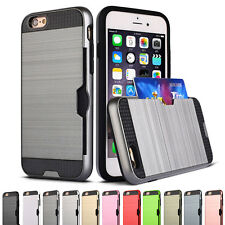 Camera Protector Hybrid Rubber Card Pocket Case Cover For iPhone 7 6 S Plus