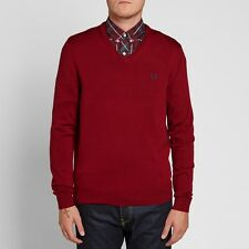 Fred Perry Classic Tipped V-Neck Pullover Sweater Men's Red Sweatshirt K7210-842