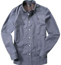 Fred Perry Men's Micro Marl Gingham Long Sleeve Shirt - M7296-458 - Mid Imperial