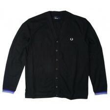 Fred Perry Men's Pique Cardigan In Black Jumper Sweater M4398-220