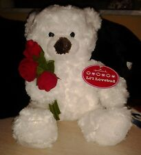 White Tedddy Bear with a Brown nose and holding a bouquet of red roses hallmark