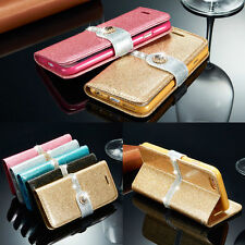 Luxury PU Leather Magnetic Flip Stand Bling Wallet Cover Case For Apple iPh