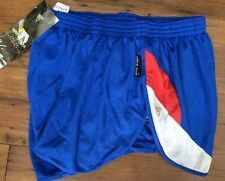 Vintage Viga Women's Running Shorts  High leg Blue Red White 2 in 1 UK 14 16