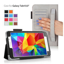 Folio Flip Wallet Protect Case Cover With Stand For Samsung Galaxy Tab 4 8.0""