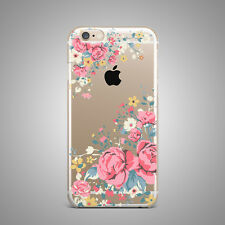 Vintag Spring Floral Flower Soft TPU Rubber Silicone Clear Cover Case For i