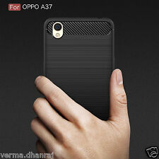 Brushed Carbon Fibre Slim TPU Back Cover Case For Oppo a37