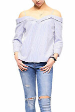 WOMENS BARDOT BLUE STRIPES STRAPPY OFFSHOULDER TURN UP LONG SLEEVES LADIES TOP