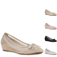 Damen Pumps Keilabsatz Strass Glitzer Keilpumps Wedges Schuhe 815633 New Look
