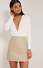 PrettyLittleThing Womens Mini Skirt Ladies Rose Stone Faux Leather A-Line