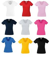 5 Pack Fruit Of The Loom Valueweight da Donna T-Shirt con scollo a V maglia