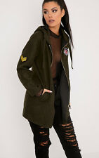 PrettyLittleThing Womens Ladies Isla Khaki Badge Detail Hooded Parka Jacket Coat