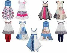 Brand New Kids Girls Summer Sleeveless Floral Print Dress Ages 2 - 11 Years