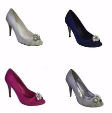 NEW Ladies Med Heel Satin Wedding Bridesmaid Court Peep Toe Shoes Size 3 - 8 UK