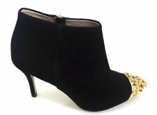 ZARA BLACK REAL SUEDE LEATHER ANKLE BOOTS WITH JEWEL AND STUDS NEW