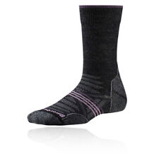 Smartwool Phd Light Crew Mujer Gris Negro Exterior Caminar Largo Calcetines