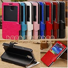 fit Samsung Galaxy Note 3 case magnetic flip PU leather stand view-window
