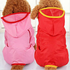 New XS-XXL Pet Dog Waterproof Hooded Raincoat Slicker Dust Coat Clothes