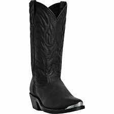 Laredo Mens Black Pigskin Leather East Bound 12in R Toe Cowboy Boots
