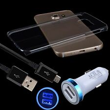 3 Bundles Clear Case+Car Charger+USB Micro Cable For Samsung Galaxy S6 Edge