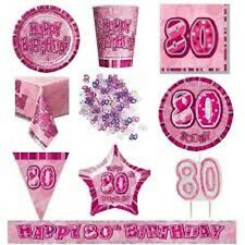 AGE 80 PINK SILVER GLITZ PARTY RANGE DECORATIONS TABLEWARE HAPPY BIRTHDAY AGE
