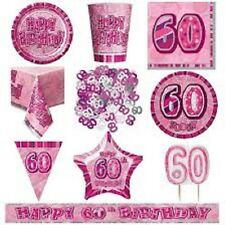 AGE 60 PINK SILVER GLITZ PARTY RANGE DECORATIONS TABLEWARE HAPPY BIRTHDAY AGE