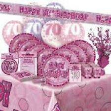 AGE 70 PINK SILVER GLITZ PARTY RANGE DECORATIONS TABLEWARE HAPPY BIRTHDAY AGE