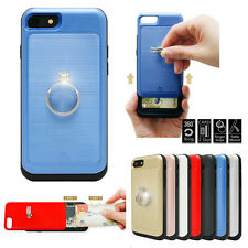 Metal Ring Hidden Slide 2-Card Slot Back Case Cover For iPhone 7 Galaxy S7