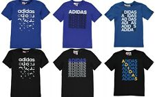 2018  Boys Adidas Short Sleeves Logo Repeated T-Shirt Top Size Age 7-13 Genuine