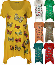New Womens Short Sleeve Butterfly Print Ladies Hanky Hem T-Shirt Top Plus Size
