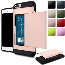Hybrid Daul PC TPU Slide 2 Cards Slots Protector Case Cover For iPhone 6 6s