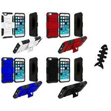 For Apple iPhone 6 (4.7) Hybrid Heavy Duty Belt Clip Holster Case Cable Wra