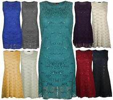 New Ladies Floral Lace Lined Sleeveless Scoop Neck Womens Sequin Evening Dress