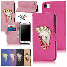 3D Patterned Quicksand Leather Wallet Card Slot Stand Case Cover For iPhone
