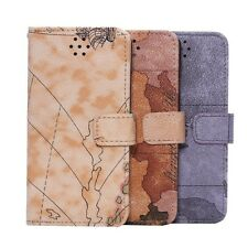 World Map Pattern Stand Wallet Leather Case Flip Cover For iPhone 6 6s 4.7""