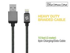 MFI Apple CERTIFIED Lightning 8 Pin 10 ft Heavy Duty Braided USB Data Cable