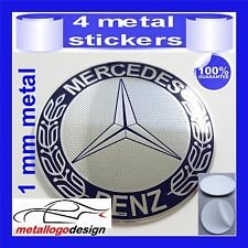 METAL STICKERS WHEELS HUB CENTER CAPS Centro LLantas 4 pcs MERCEDES 4 blue