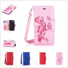 PU Leather Wallet Diamonds Embossing Card Flip Stand Cover iPhone7& Samsung