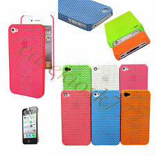 fit iphone 4 4s perforated light weight case and screen protector six color